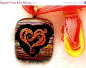 CLOSING SALE Peach Heart Dichroic Fused Glass Pendant Necklace