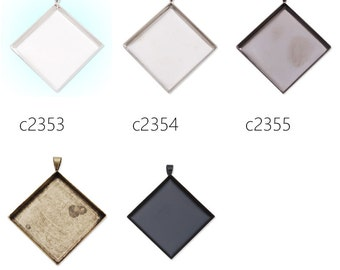 20PCS 25x25mm Square Cameo Cabochon Base Setting Pendants, fit 25x25mm square cabochons