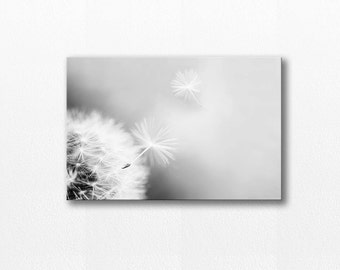canvas print Dandelion wall art dandelion decor large canvas art photo canvas black and white photography dandelion nature canvas decor