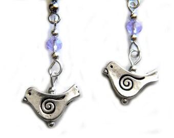 Purple Crystal Spiral Bird Earrings