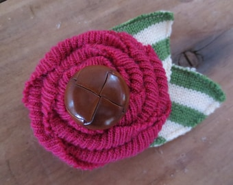 Recycled Wool Sweater Flower Hair Clip with Leather Button and Striped Leaves