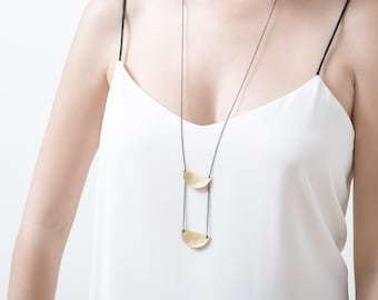 Bohemian Style Necklace, long bohemian necklace, Bohemian long gold necklace, long gold & black necklace, boho chic necklace,
