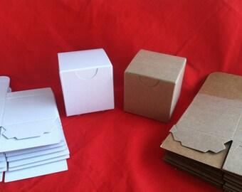 Ten Heavy 2 x 2 x 2 favor box in kraft or glossy white