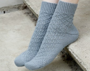 Hand Knitted women Socks pink merino wool gray