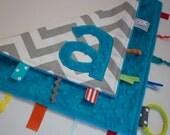 Personalized Blue Grey Chevron blanket - Baby Lovey Security Sensory Ribbon Stroller Travel Minky