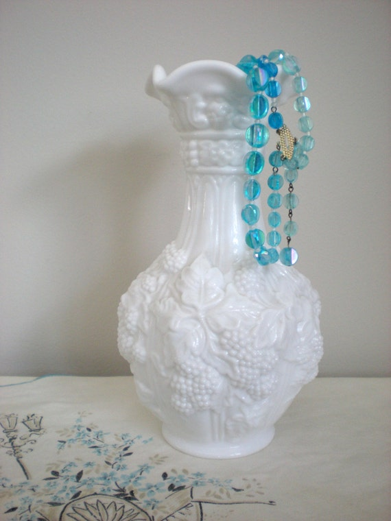 Items Similar To Large Vase Ornate White Milk Glass Vases Raised Pattern Of Leaves And Berries