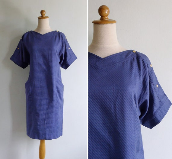 Vintage 80's Nautical Gold Stud Button Blue Oversized Dress XS S or M