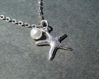 Starfish Necklace Stocking Stuffer Christmas Gifts Bridesmaid Necklace Wedding Jewelry Beach Jewelry Women's Gift