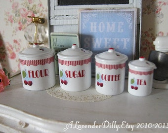 Retro Cherry Dollhouse Canisters 1/12 scale