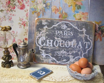 Paris Chocolat Sign/Print for Dollhouse
