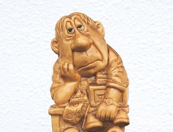 "Vintage 1974 Russ Berrie Figurine Statue, Office Man, ""Tomorrow I've Got to Get Organized"" 9099"