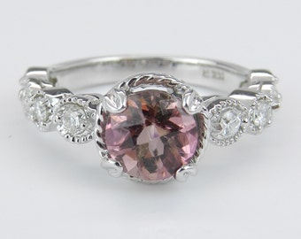 Diamond and Round Pink Tourmaline Halo Engagement Ring 14K White Gold Size 7