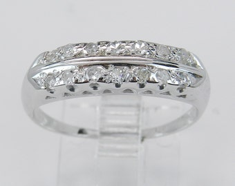 SALE Antique Diamond Wedding Ring Anniversary Band Vintage 14K White Gold Size 7.25