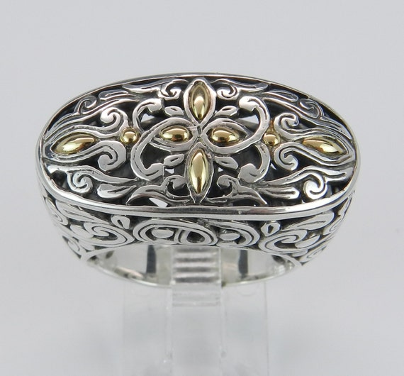 REDUCED Oval Sterling Silver 18K Yellow Gold Large Ladies Filigree Ring Antique Finish