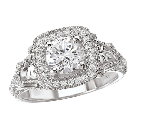 14KT White Gold CANDY Halo Diamond Engagement Ring Setting Semi-Mount