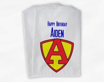 Superhero Birthday Party Candy Favor Bags - Custom Personalized Treat Bags for Kids - 25 Paper Bags (0012)