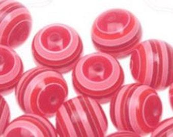 20mm 10CT 10 Chunky Cinnamon Red Striped Beads, Bubblegum Beads, F4
