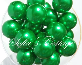 25mm Chunky Green Beads, 25mm Chunky Green Pearl Bubblegum beads, Chunky Beads, C33