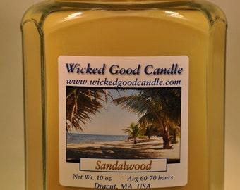Glass Jar Candle Soy Paraffin Blend - Sandalwood