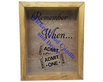 "Wooden Shadow Box Ticket Holder 9""x11"" - Remeber When with Tickets"