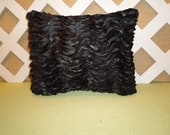 Black Pillow in Layered Silky Ribbon Rows/ Black Pillow/ Ribbon Pillow/ Decorative Pillow/ Accent Pillow/ Bedroom Pillow