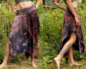 Bamboo organic pixie skirt asymmetric jersey hand dyed in charcoal and rust orange S, M, L