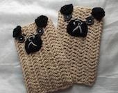 pug fingerless crochet  mittens