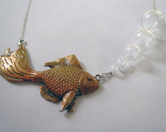 Bubbling Fish Necklace - Handpainted Statement Goldfish Necklace with Bubbles by Weirdly Cute Jewelry