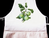Vintage Green Plums Cotton Twill Apron -- Fully adjustable, mid length