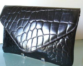 Vintage Amelia Berko Large Alligator Embossed Clutch Bag