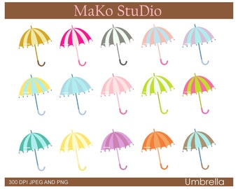 umbrella clip art , Colourful UMBRELLAS Digital clip art, JPEG & PNG, instant download