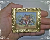 Cottage with thatched roof, Cross Stitch, miniature