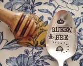 Queen Bee. Hand Stamped Bee Lovers Spoon - Queen, royal, luxury, honey, spoon to stir your coffee or tea