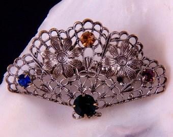 Vintage Brooch Fan Brooch Pin Rhinestone Brooch Lapel Pin Costume Jewelry Pin Brooch Lapel Pin Lapel Brooch Free Shipping to USA