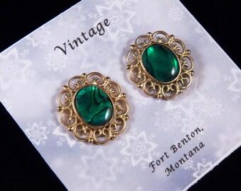 Vintage Pierced Earrings - Green Earrings - Stud Pierced Earrings - Victorian Earrings - Vintage Costume Jewelry - Free Shipping to USA