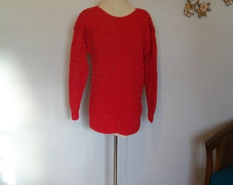 SALE 80's Red Chunky Knit Sweater- Hand Knit- Boyfriend Sweater (( Size Small Medium Large))