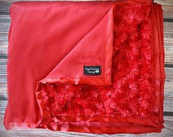 Minky Blanket, Adult minky, minky for dad, gift for men, red blanket, red minky, minky and satin red blanket, soft blanket blanket for boy