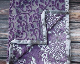 Minky Blanket. soft blanket, purple blanket, mar bella, blanket for girl, purple and grey, baby girl, Puprle minky, damask blanket, vine