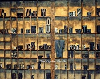 Typeography Print, Vintage,Office Decor, Printing Press,Printers Tray, Alphabet, Rustic Wall Art,Shabby Chic Theme,Industrial Art,Farmhouse