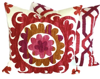 P Kaufmann Decorative Pillow, Accent Pillow, Stencil Suzani, 18x18, 20x20, 22x22, Pink, Raspberry, Red, and Ivory