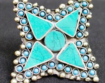 Vintage Afghanistan STAR Ring Teal Color Gypsy Tribal Belly Dance Uber Kuchi®
