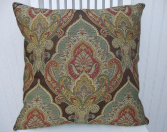 Paisley Decorative Pillow Cover--18x18 or 20x20 or 22x22-Accent  Pillow--Brown, Purple, Orange, Green, Gold.
