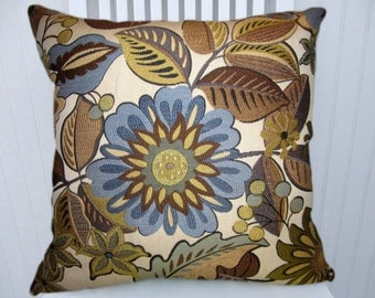 Brown Blue Foral Pillow Cover--Decorative Throw Pillow Cover - 18x18 or 20x20 or 22x22 --Accent Pillow Cover