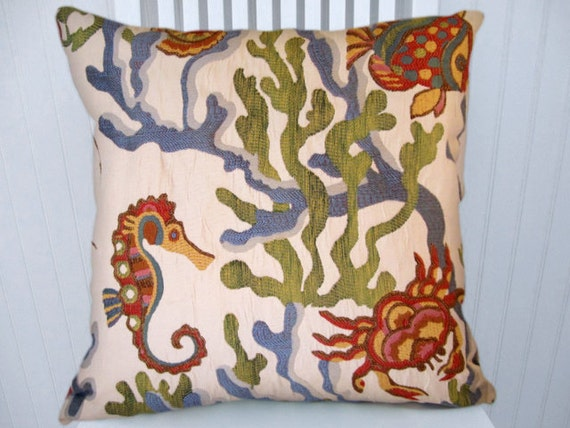 Fish Decorative  Throw Pillow Cover-Accent Pillow 18x18 or 20x20 or 22x22--Throw Pillow-Blue, Green, Red, Yellow, Pink