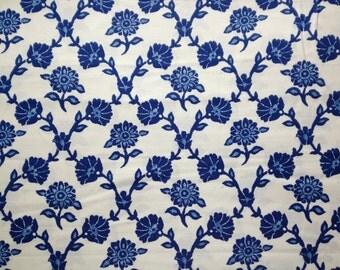 Ravena Vine Cotton Fabric Blue Flowers Cream Dear Stella Floral 1m