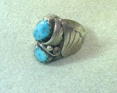 Natural Turquoise Nugget and Sterling Silver Ring - Hand Crafted - Unisex