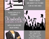 Law Degree Pink Graduation Party Invitation Cards PRINTABLE DIY