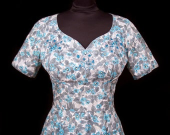 1950s Dress // Designer Sequin and Beaded Blue and Grey Floral Cotton Dress by Grace Miller Beverly Hills