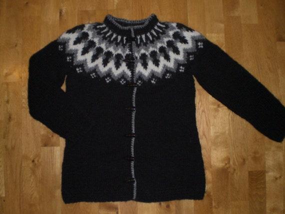Icelandic womens handmade wool sweater/cardigan with buttons,black cardigan, XS-S-M-L-XL-XXL-3XL-4XL-5XL-6XL made to order