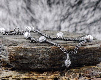 Bell & Chain Anklet Black Silver Jingle